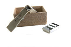 STAPLER in box and Stapler clips Stock Photos