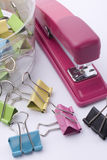 Stapler and clips Stock Photo