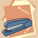 Stapler and file folders. A blue stapler and pink file folders Stock Photography