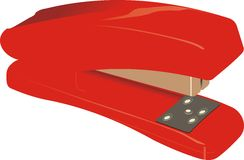 Stapler, office. Red Stapler, Irreplaceable thing in the office Stock Image