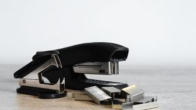 Stapler for office work on the table. Stationery item. Office su. Stapler for office work on the table stock images