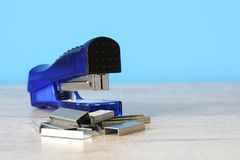 Stapler for office work on the table. Stationery item. Office su. Stapler for office work on the table stock photos