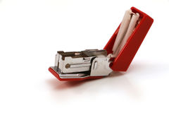 Stapler. Red silver stapler to staple the documents or papers stock photo