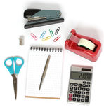 Stapler scissors notebook pen calculator tape Stock Photos