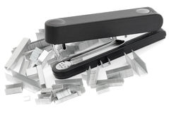 Stapler and staples. Black stapler and staples are many different royalty free stock photos