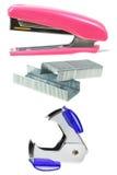 stapler,staples,staple remover isolated on white Stock Photo