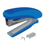 Stapler and staples. Stapler and staples  on white background. Object tool. Stock Photos