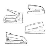 Stapler vintage office supplies line art cute  illustration Royalty Free Stock Photos