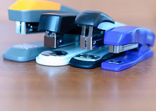 Staplers on  wooden background Stock Photo