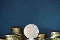 Staples av euromynt Royaltyfri Foto