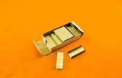 Staples. Box of , orange color Royalty Free Stock Photos