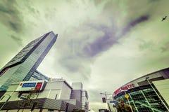Staples Center- und Microsoft-Theater im im Stadtzentrum gelegenen LA Stockfotografie
