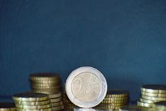Staples de euro- moedas Foto de Stock Royalty Free