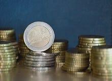Staples di euro monete Fotografie Stock Libere da Diritti