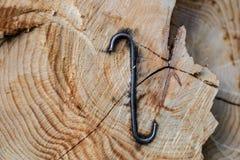 Staples a employé pour les rondins en bois Accessoires pour fixer le bois dans Image stock