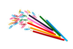 Staples et crayons Photographie stock