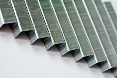 Staples gjorde av metall för hushållhäftapparater Fotografering för Bildbyråer