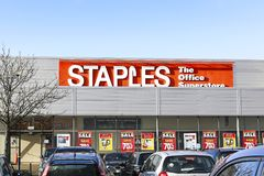 Staples Office supplies with a massive sale and 70% reductions. Swansea, UK: January 14, 2017: Front view of a Staples office supplies superstore with sales Royalty Free Stock Image