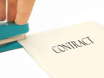 Stapling Contract Stock Photo