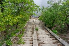 Stappen aan de Dnipro-rivier stock afbeelding