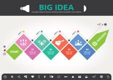4 stappen aan modern de informatie grafisch ontwerp van het succesmalplaatje Royalty-vrije Stock Fotografie