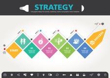 4 stappen aan modern de informatie grafisch ontwerp van het succesmalplaatje Stock Foto