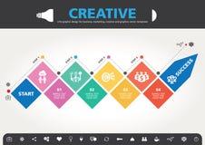 4 stappen aan modern de informatie grafisch ontwerp van het succesmalplaatje Stock Afbeelding