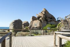 Stappen bij Granieteiland, Victor Harbor, Zuid-Australië Royalty-vrije Stock Foto