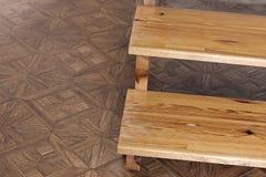 stappen Houten trap Houten stappen stock afbeelding