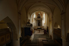Stappen in kerk, Copsa-Merrie, Transsylvanië, Roemenië te veranderen royalty-vrije stock foto's