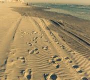 Stappen op het strand stock fotografie