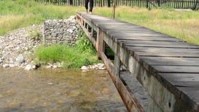 Stappen op Kleine Voetbrug stock footage