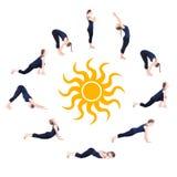 Stappen van begroeting van de surya de namaskar zon van de Yoga Stock Foto
