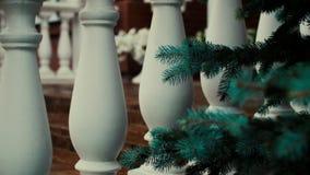 Stappen van een rood baksteenbuitenhuis met uitstekende kolommen en blauwe sparren in de tuin stock video