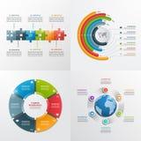 6 stappen vector infographic malplaatjes Stock Foto