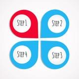 4 stappen vector rode en blauwe infographics Royalty-vrije Stock Afbeelding