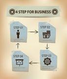 4 stappen voor Bedrijfsconcept Royalty-vrije Stock Fotografie