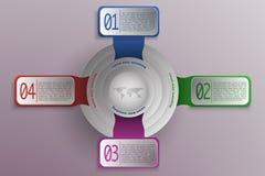 4 stappenchronologie en bedrijfsinfographics in moderne kleuren en vector illustratie