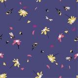 Stapplar det blom- trycket för den färgrika nätta tusenskönan som blåser i vinddesignen med, den sömlösa modellen för bin i vekto stock illustrationer
