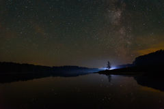 Star湖天空银河 库存照片