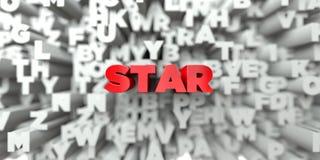 STAR - Κόκκινο κείμενο στο υπόβαθρο τυπογραφίας - τρισδιάστατο δικαίωμα ελεύθερη εικόνα αποθεμάτων ελεύθερη απεικόνιση δικαιώματος