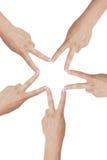 Star. Hands creating a star illustrating teamwork Royalty Free Stock Image