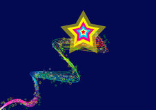Star. A multicolor shooting star clipart image on isolated white background Stock Photography