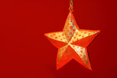 Star. A star and a red background Stock Photo
