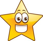 Star. A golden star shape smiling Royalty Free Stock Images
