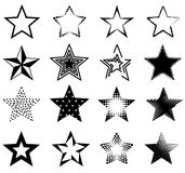 Star. Collection of different shaped stars isolated on white Royalty Free Stock Photo