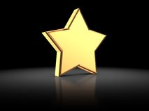 Star. 3d illustration of golden star on a black background Royalty Free Stock Photos