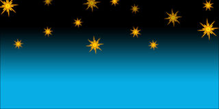 Star. A blue background with black on its pole and stars Royalty Free Stock Images