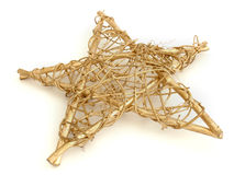 Star. Gold Christmas star on white background Royalty Free Stock Images