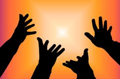 Star. Silhouettes four hands stretching to star Royalty Free Stock Photography